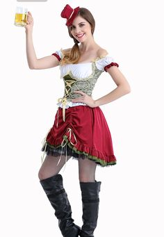 e3e2b31e3 Women s German Oktoberfest-Style Wench Short Costume Dress M-XL
