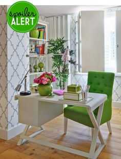 ♥ the lattice wallpaper + pops of lime in a dominantly white room