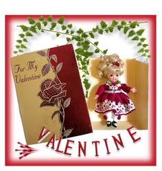 """""""Vintage Valentine Greeting Card Doll"""" by abatevintage ❤ liked on Polyvore featuring interior, interiors, interior design, home, home decor, interior decorating and vintage"""