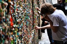Chewing Gum Wall in California - If you are squeamish and easily disgusted, never walk along Bubblegum Alley and don't touch the walls because lining the walls on this alley is a thick layer of over-chewed sticky bubble gums. This local tourist landmark is located in downtown San Luis Obispo, California. The wall in question is 15-foot high and stretches for 70-foot along the alley.