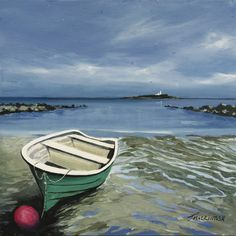 Waiting for the tide  by Scottish contemporary landscape painter J Mackintosh