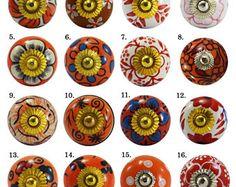 Ceramic Cupboard Cabinet Knobs Drawer Door Flower Designed Red,Pink,Orange,Blue & White Drawer Pulls