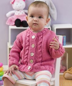 Seeds of Spring Baby Cardi Knitting Pattern #baby #redheartyarns #knit