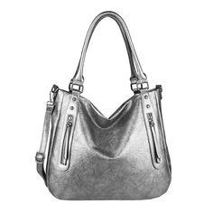 d7646dcfc8972 ICYMI   Werbung  DAMEN HAND-TASCHE Schultertasche Metallic Shopper  Umhängetasche Leder Optik Bag