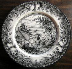 Black Cream Toile Transferware Woman Boy Inn Fruit Plate - Decorative Dishes