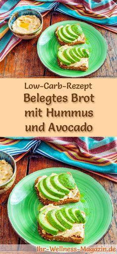 Low-Carb-Rezept für Brot mit Hummus und Avocado: Kohlenhydratarm, eiweißreich, kalorienreduziert, ohne Getreidemehl, gesund ... #lowcarb #frühstück