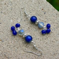 Royal Blue Glass Earrings with Dangling Beads, Bright and Fun Earrings, Fight Human Trafficking, Beautiful Gift For Friend by DelightedPlace on Etsy