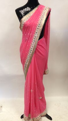 Chiffon Stone Pearl Beads &Mirror Work Saree-Pink