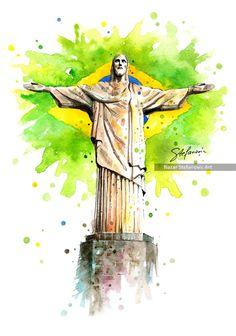 Christ the Redeemer,Rio de Janeiro, BrazilBuy A3 Art Print