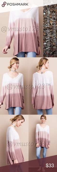 MAUVE OMBRÉ FLOWY TUNIC TOP MADE IN USA- SUPER SOFT LIGHT WEIGHT. FEATURES LONG SLEEVES, A DEEP V-NECK, OMBRE DIP DYE AND MEGA SOFT KNIT TUNIC TOP. FITS FLOWY & SLIGHTLY BIG. S(4-6) M(8-10) L(12-14) If under size 4, you can still get the small, it would just be an even looser FLOWY fit that would pair well with tight leggings or skinnies. Perfect fashion for Easter Memorial Day spring break Coachella festival wedding vacation lounging date night anniversary birthday present gift comfortable…
