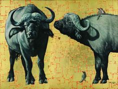 Buffalo, Oil and Gold Leaf on Canvas, 90cm by 120cm, (2012) by Marc Alexander