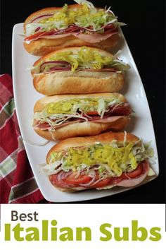 Italian Sub Sandwiches You'll Want Every Week - Good Cheap Eats - - The classic Italian Sub is an easy and affordable sandwich to make yourself. You'll enjoy a great lunch at a price that can't be beat! Gourmet Sandwiches, Hoagie Sandwiches, Best Sandwich Recipes, Chicken Sandwich Recipes, Sandwiches For Lunch, Wrap Sandwiches, Lunch Recipes, Dinner Recipes, Cooking Recipes