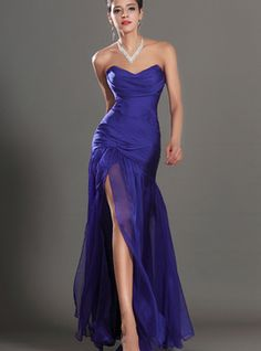 Vestido de gala/ Vestido de noite Caiu cintura Chiffon com Plissados