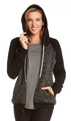 Comfy Black and Grey Contrast Hoodie Jacket #Comfy #Black_and_Grey #Contrast #Hoodie #Jacket