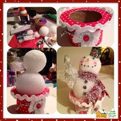A Glittery Snowman ~ Another crafty situations where I had seen something that inspired me to try & make my own. Using supplies on hand, this is my 2 dollar version of a snowman I found priced for 16 dollars. My only expense were the styrofoam balls. For the base I used a ribbon spool that I decorated with scrapbook paper, rick-rack, & a little design made outa' some odd & end pieces.  The snowman was simple; I attached the styrofoam balls with hot glue & added a top hat made outa'…