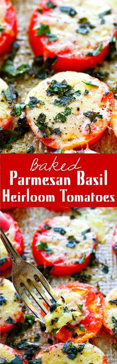I took these to a party and they were gone so fast! Baked Parmesan Basil Heriloom Tomatoes. If you have an abundance of tomatoes in your  garden this is the way to use them! mmmmm