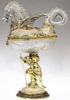 Renaissance style silver-gilt and enamel mounted rock crystal cups made in the second half of the 19th century by Hermann Ratzersdorfer of Vienna.