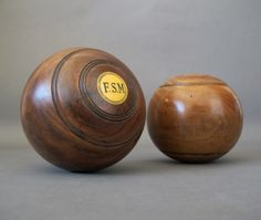 Pair of Vintage Lawn Bowls from England - Lignum Vitae Lawn Bowl - Vintage Bowling Ball - pinned by pin4etsy.com