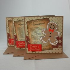 Pack of 3 handmade Christmas cards - Gingerbread men £4.00