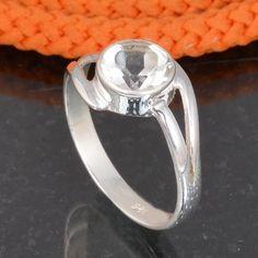 CRYSTAL CUT 925 SOLID STERLING SILVER DESIGNER RING 1.88g DJR6057 #Handmade #Ring