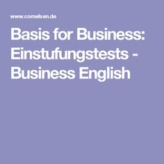 Basis for Business: Einstufungstests - Business English