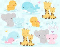 BABY JUNGLE ANIMALS  Digital Clipart Set Animals by GRAFOSclipart