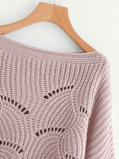 Kerry Eyelet Sweater in Pink Love Knitting, Sweater Knitting Patterns, Knit Patterns, Crochet Socks, Knitted Hats, Knit Crochet, Crochet Baby, Dressy Sweaters, Pulls