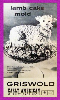 Griswold Easter Lamb Cake Cast Iron Mold 866 Owner's Manual - Reproduction Copy for sale online Retro Recipes, Vintage Recipes, Griswold Cast Iron, Easter Lamb, Rabbit Cake, Cast Iron Cooking, Polish Recipes, Vintage Easter, No Bake Cake