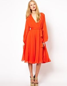 Belted Midi Dress With Blouson Sleeve