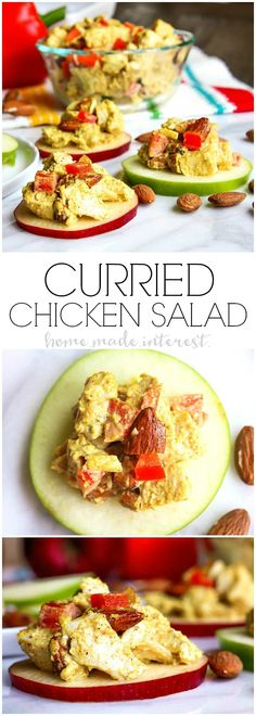 Curried Chicken Salad | This quick and easy curried chicken salad is full of flavor. We've got a recipe for your own simple curry, a mix of fragrant spices that liven up any dish and the almonds added to the chicken salad give it a little extra crunch. This is a great low carb lunch, low carb dinner, or low carb snack recipe. Give boring old chicken salad a little something extra with this healthy chicken salad recipe. #CelebrateAlmonds #ad @almonds