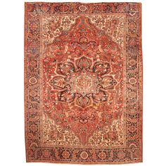 Herat Oriental Persian Hand-knotted 1960s Semi-antique Tribal Heriz Wool Rug (8'9 x 11'10) | Overstock.com Shopping - The Best Deals on 7x9 - 10x14 Rugs
