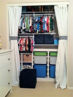 Love the curtain idea cheaper then new doors and add a nice soft touch to a kids room