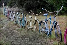 A fence made of old bicycles