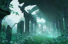 SF, fantasy, post-apocalypse, and other genre visual arts. All speculative visual arts are. The Legend Of Zelda, Legend Of Zelda Breath, Fantasy Places, Fantasy World, Fantasy Art, Landscape Concept, Fantasy Landscape, Environment Concept Art, Environment Design