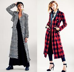 (7a) Recognition Bold Plaid Maxi Coat - (7b) Shadow Plaid Double-Breasted Sergeant Jacket Maxi Coat - Free People 2013 September Womens Catalog Sneak Peek - Pre Fall Autumn Collection: Designer Denim Jeans Fashion: Season Collections, Runways, Lookbooks, Linesheets & Ad Campaigns