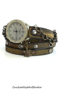 Wrap Watch, Womens leather watch, Bracelet Watch, Army Green Wrap watch with Chain and Turtle Charm