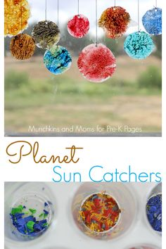 A great craft project to go with your outer space theme in Preschool or Kindergarten! - Pre-K PagesPlanet Sun Catchers. A great craft project to go with your outer space theme in Preschool or Kindergarten! - Pre-K Pages Planets Preschool, Planets Activities, Solar System Activities, Space Theme Preschool, Space Activities For Kids, Outer Space Crafts For Kids, Summer Preschool Themes, Summer Activities, Vbs Crafts