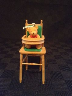 Babys First Christmas Bear Sitting In Highchair Christmas Tree Ornament #D