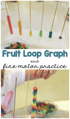 Use fruit loops to build hands-on graphs with young children. They can also use them to sort and pattern. - Play to Learn Preschool Preschool Fine Motor Skills, Motor Skills Activities, Preschool Learning, Teaching Math, Learning Activities, Sensory Activities, Maths, Leadership Activities, Sensory Bins