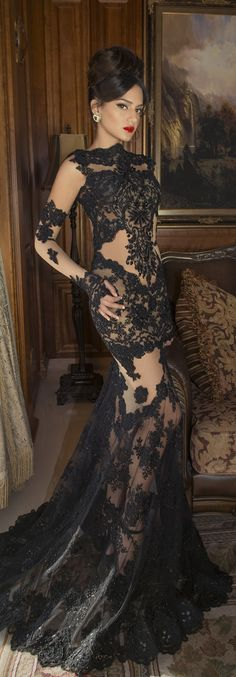 black lace gown -I have no idea where on earth this could be worn to though