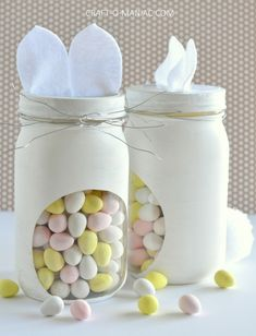 DIY Bunny Candy Jars - Craft-O-Maniac