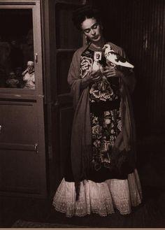 Frida Kahlo and dove, ca. 1930s