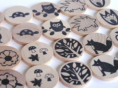 Waldorf-Natural Wood Toy- MATCH ME- Woodland Forest- Eco Friendly Memory Game. $18.00, via Etsy.