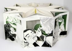 "Molly Brooks :: The Frog's Sister // Nine panel carousel book // 6"" tall, 15"" diameter"