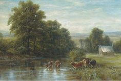 I need a muted landscape painting...with cows...