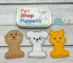 Pet Shop finger puppets tin play set, embroidered, travel toy game, cat, dog, puppet, quiet toy, toy, make believe, doll, pets by DesignsByRAJA on Etsy