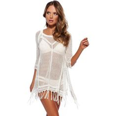 ed0a55ebcb65c Beach Tunic Sexy Swimwear Knitted Hollow Cover Up Women Summer Beach Cover  Up Crochet Swimsuit Tops