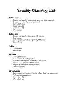 weekly cleaning list organized by room
