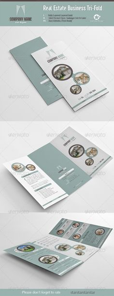 Real Estate Business Tri-Fold #Layout #Design #Brochure #Editorial