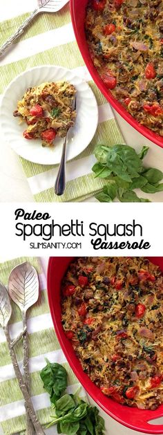 This Paleo spaghetti squash casserole recipe is a healthy, vegetable-loaded dinner. Great for food prep and meal planning! | slimsanity.com